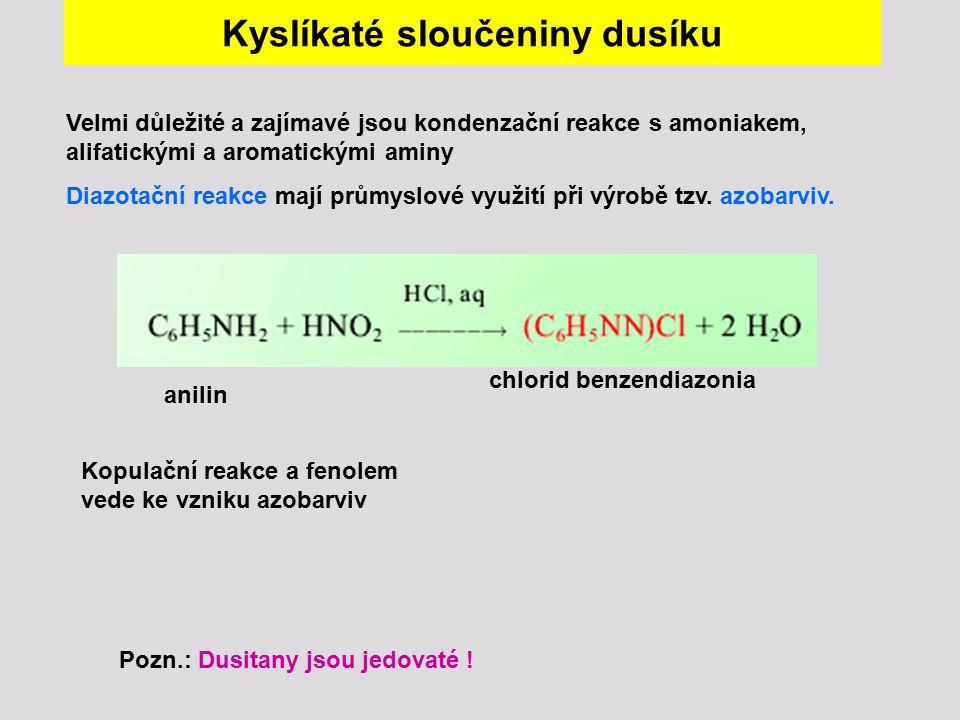 Kyslíkaté sloučeniny dusíku Velmi důležité a zajímavé jsou kondenzační reakce s amoniakem, alifatickými a aromatickými aminy Diazotační reakce mají pr