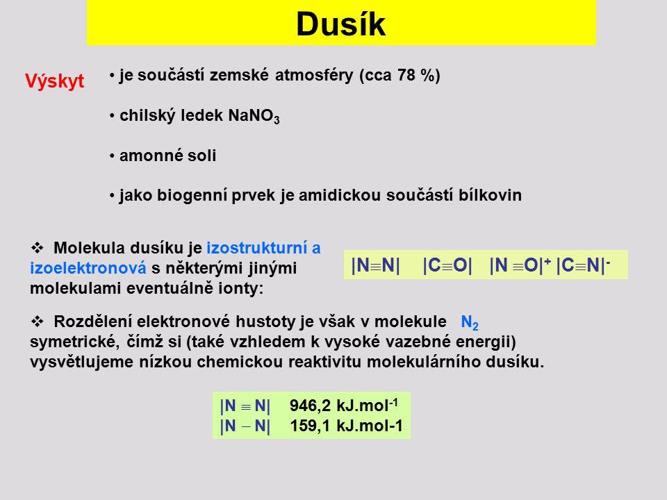 Dusík je součástí zemské atmosféry (cca 78 %) chilský ledek NaNO 3 amonné soli jako biogenní prvek je amidickou součástí bílkovin Výskyt  Molekula du
