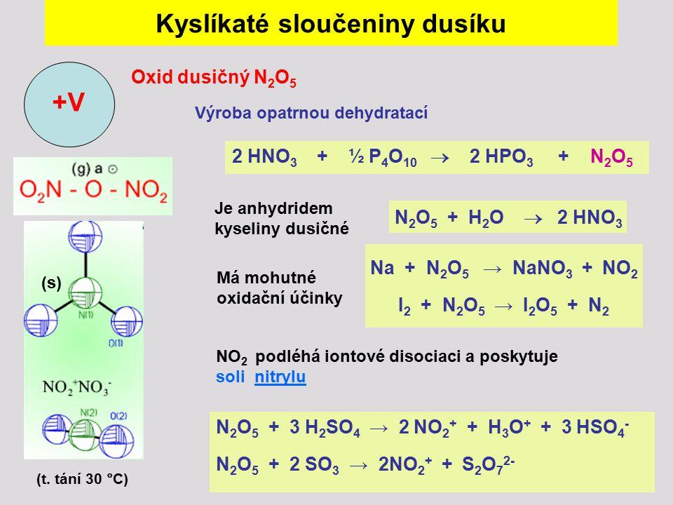 Kyslíkaté sloučeniny dusíku Oxid dusičný N 2 O 5 +V (s) 2 HNO 3 + ½ P 4 O 10  2 HPO 3 + N 2 O 5 Výroba opatrnou dehydratací (t. tání 30 °C) Je anhydr
