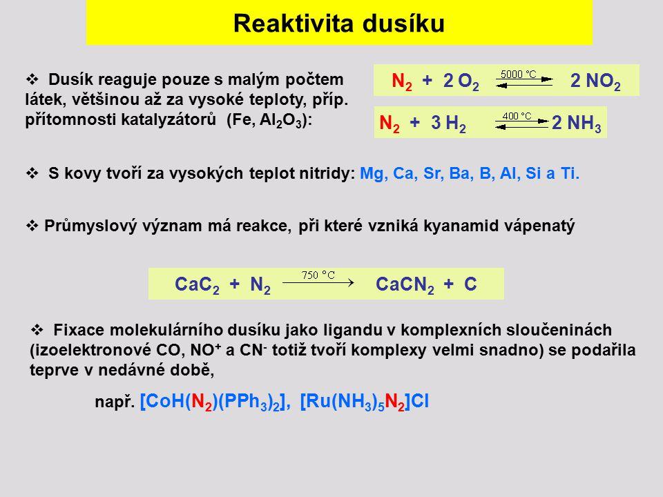  Dusík reaguje pouze s malým počtem látek, většinou až za vysoké teploty, příp. přítomnosti katalyzátorů (Fe, Al 2 O 3 ): N 2 + 3 H 2 2 NH 3 N 2 + 2