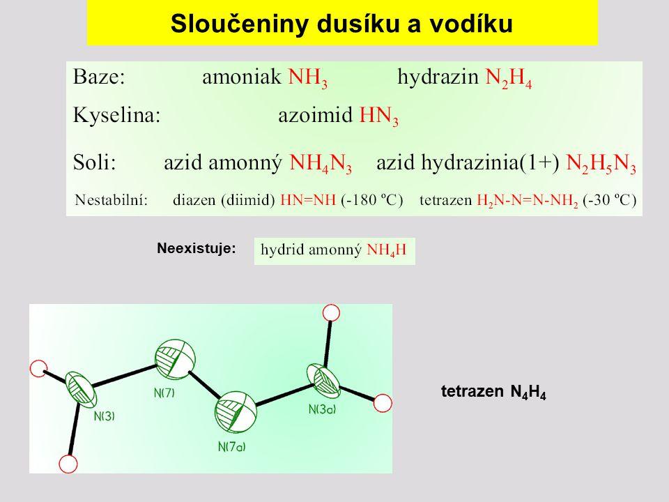 Sloučeniny dusíku a vodíku Neexistuje: tetrazen N 4 H 4