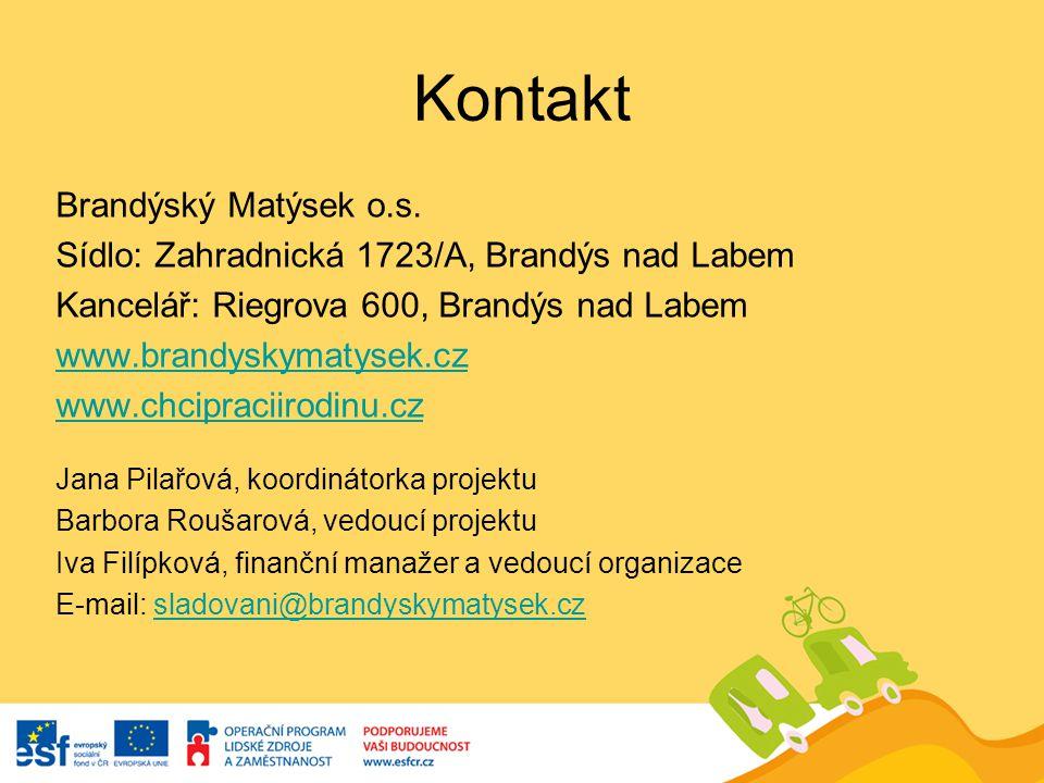 Kontakt Brandýský Matýsek o.s. Sídlo: Zahradnická 1723/A, Brandýs nad Labem Kancelář: Riegrova 600, Brandýs nad Labem www.brandyskymatysek.cz www.chci
