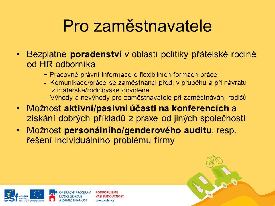 Pro zaměstnavatele Bezplatné poradenství v oblasti politiky přátelské rodině od HR odborníka - Pracovně právní informace o flexibilních formách práce