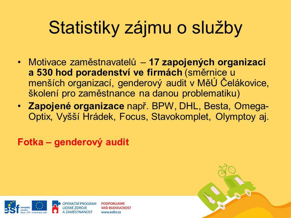 Statistiky zájmu o služby Motivace zaměstnavatelů – 17 zapojených organizací a 530 hod poradenství ve firmách (směrnice u menších organizací, genderov