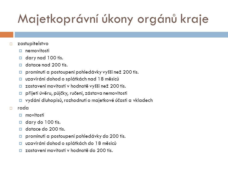 Majetkoprávní úkony orgánů kraje  zastupitelstvo  nemovitosti  dary nad 100 tis.