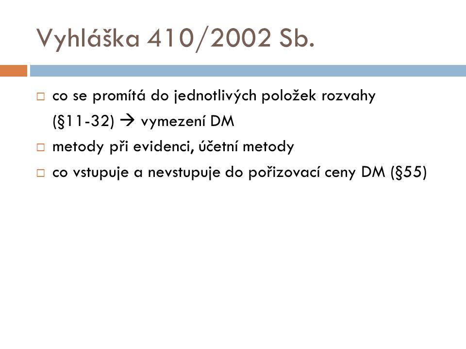 Vyhláška 410/2002 Sb.  co se promítá do jednotlivých položek rozvahy (§11-32)  vymezení DM  metody při evidenci, účetní metody  co vstupuje a nevs