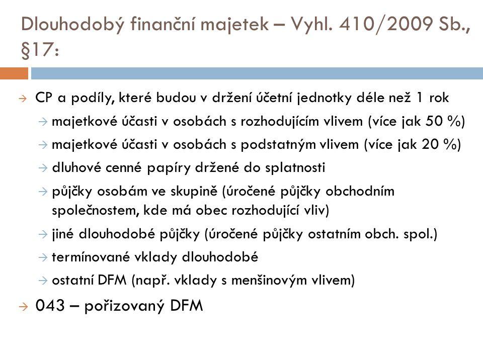 Dlouhodobý finanční majetek – Vyhl. 410/2009 Sb., §17:  CP a podíly, které budou v držení účetní jednotky déle než 1 rok  majetkové účasti v osobách