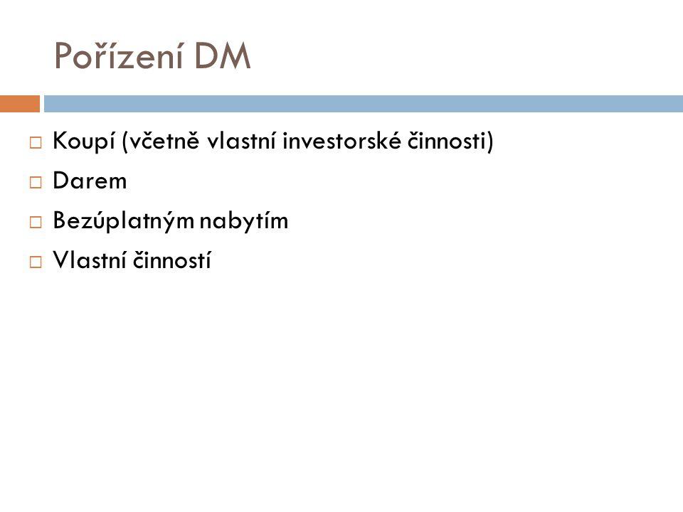 Pořízení DM  Koupí (včetně vlastní investorské činnosti)  Darem  Bezúplatným nabytím  Vlastní činností