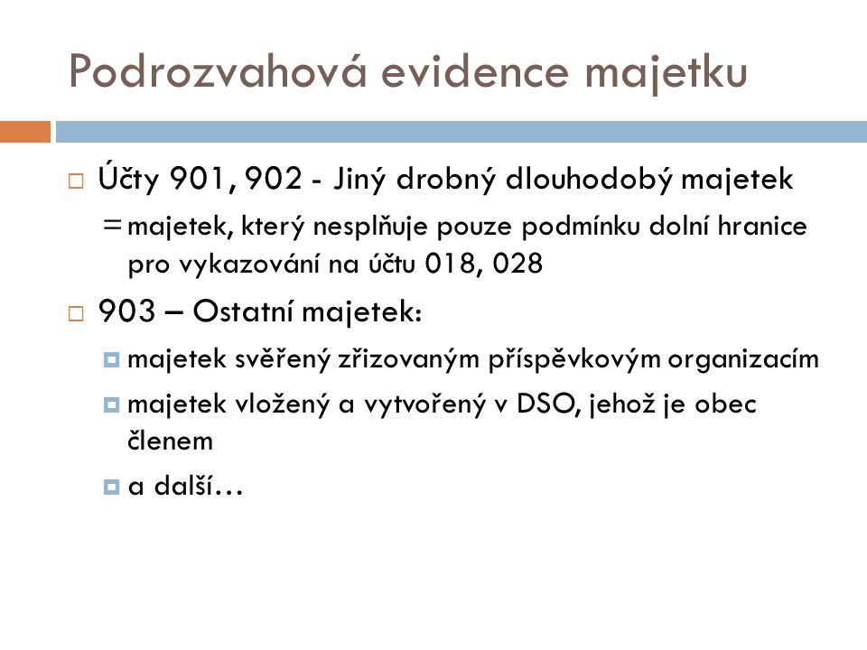 Podrozvahová evidence majetku  Účty 901, 902 - Jiný drobný dlouhodobý majetek =majetek, který nesplňuje pouze podmínku dolní hranice pro vykazování n