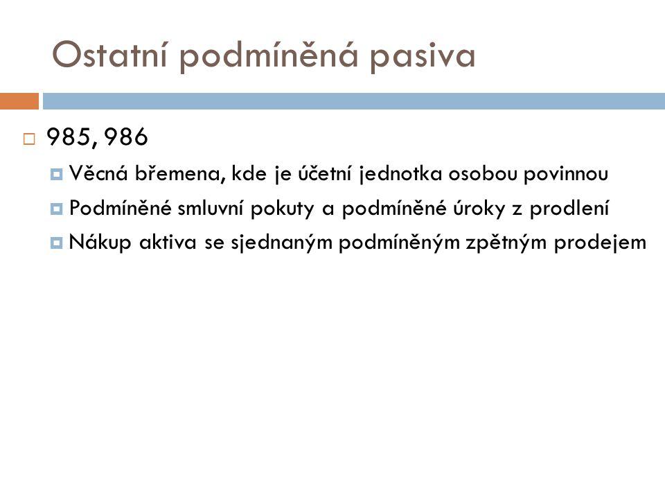 Ostatní podmíněná pasiva  985, 986  Věcná břemena, kde je účetní jednotka osobou povinnou  Podmíněné smluvní pokuty a podmíněné úroky z prodlení  Nákup aktiva se sjednaným podmíněným zpětným prodejem