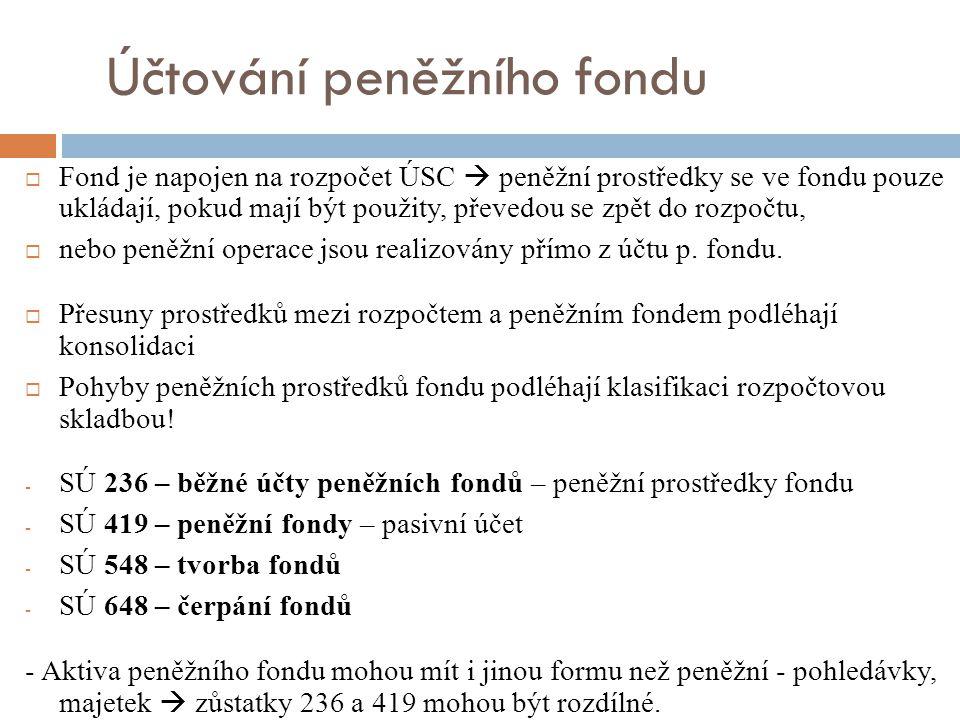 Účtování peněžního fondu  Fond je napojen na rozpočet ÚSC  peněžní prostředky se ve fondu pouze ukládají, pokud mají být použity, převedou se zpět do rozpočtu,  nebo peněžní operace jsou realizovány přímo z účtu p.
