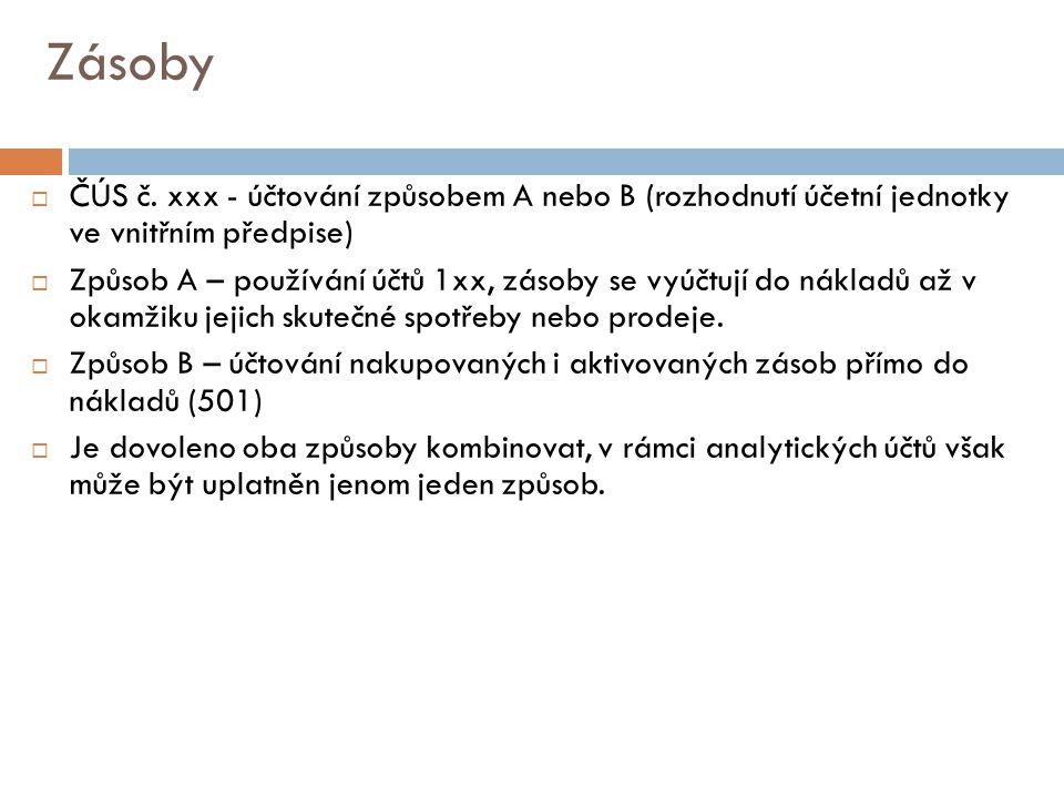 Zásoby  ČÚS č. xxx - účtování způsobem A nebo B (rozhodnutí účetní jednotky ve vnitřním předpise)  Způsob A – používání účtů 1xx, zásoby se vyúčtují