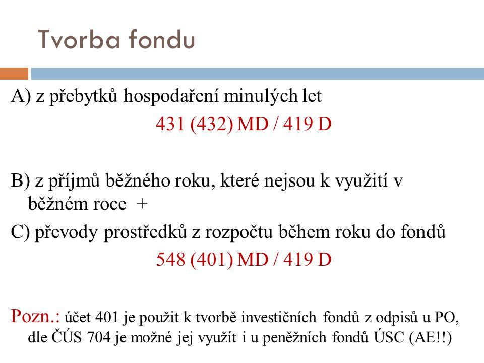 Tvorba fondu A) z přebytků hospodaření minulých let 431 (432) MD / 419 D B) z příjmů běžného roku, které nejsou k využití v běžném roce + C) převody p