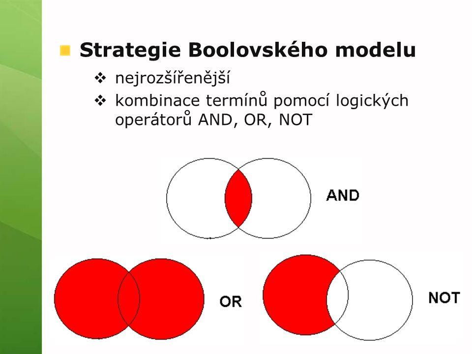 Strategie Boolovského modelu  nejrozšířenější  kombinace termínů pomocí logických operátorů AND, OR, NOT