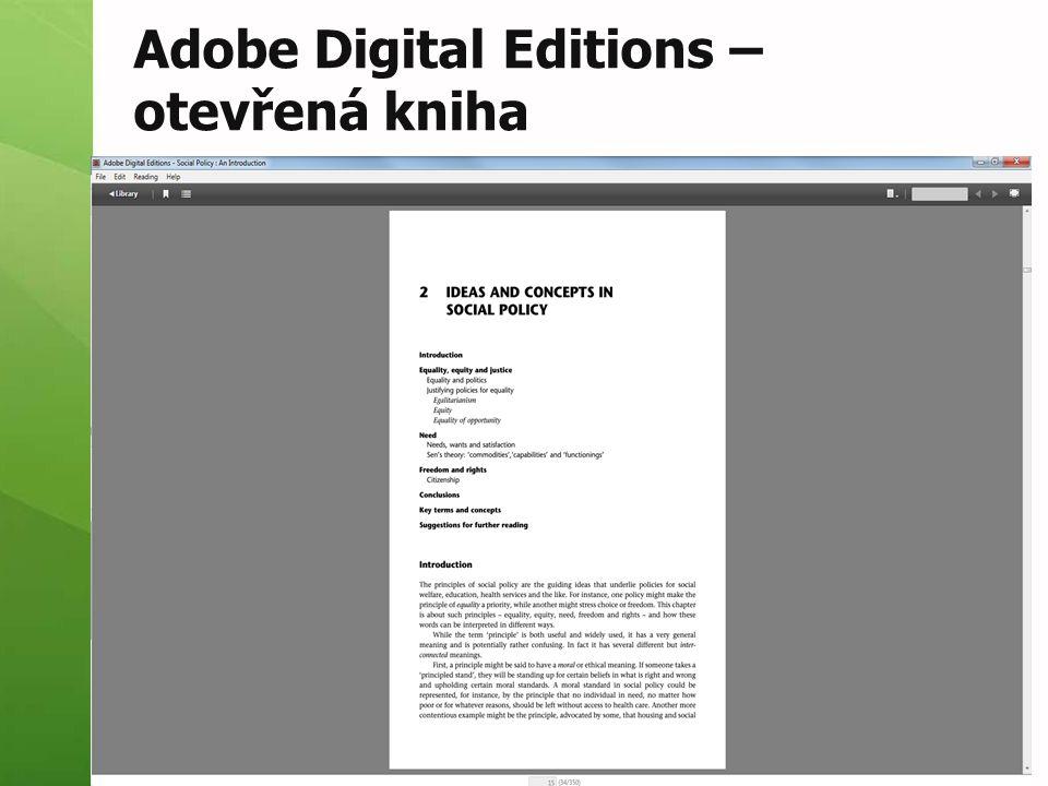 Adobe Digital Editions – otevřená kniha