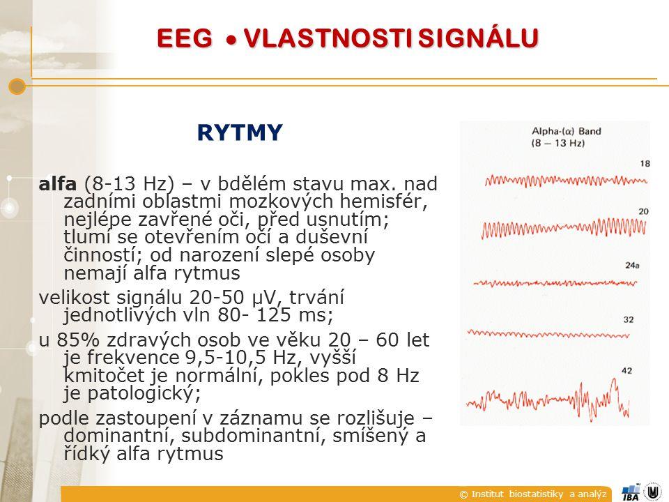 RYTMY alfa (8-13 Hz) – v bdělém stavu max. nad zadními oblastmi mozkových hemisfér, nejlépe zavřené oči, před usnutím; tlumí se otevřením očí a duševn