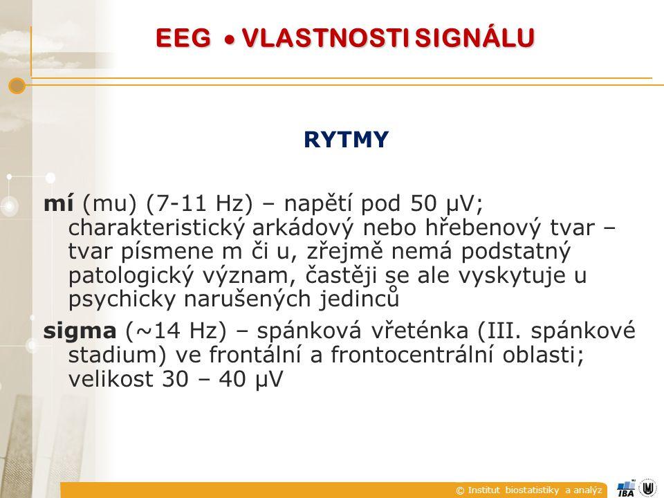 RYTMY mí (mu) (7-11 Hz) – napětí pod 50 μV; charakteristický arkádový nebo hřebenový tvar – tvar písmene m či u, zřejmě nemá podstatný patologický výz