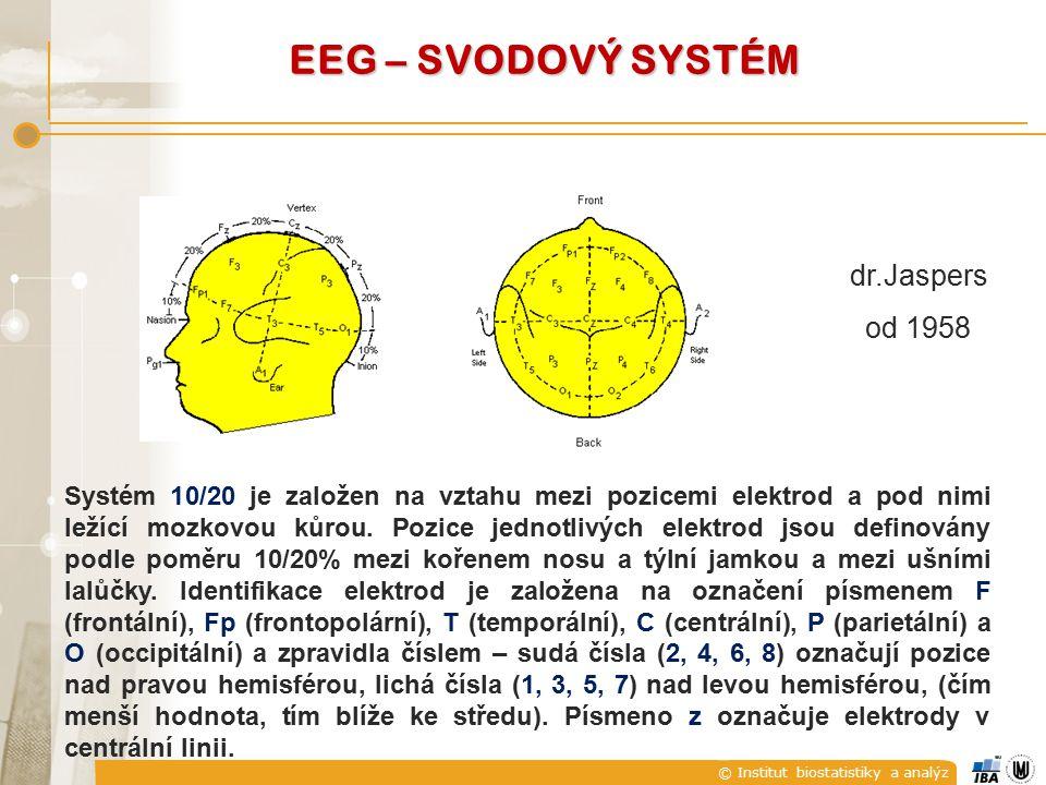 © Institut biostatistiky a analýz EEG – SVODOVÝ SYSTÉM Systém 10/20 je založen na vztahu mezi pozicemi elektrod a pod nimi ležící mozkovou kůrou. Pozi