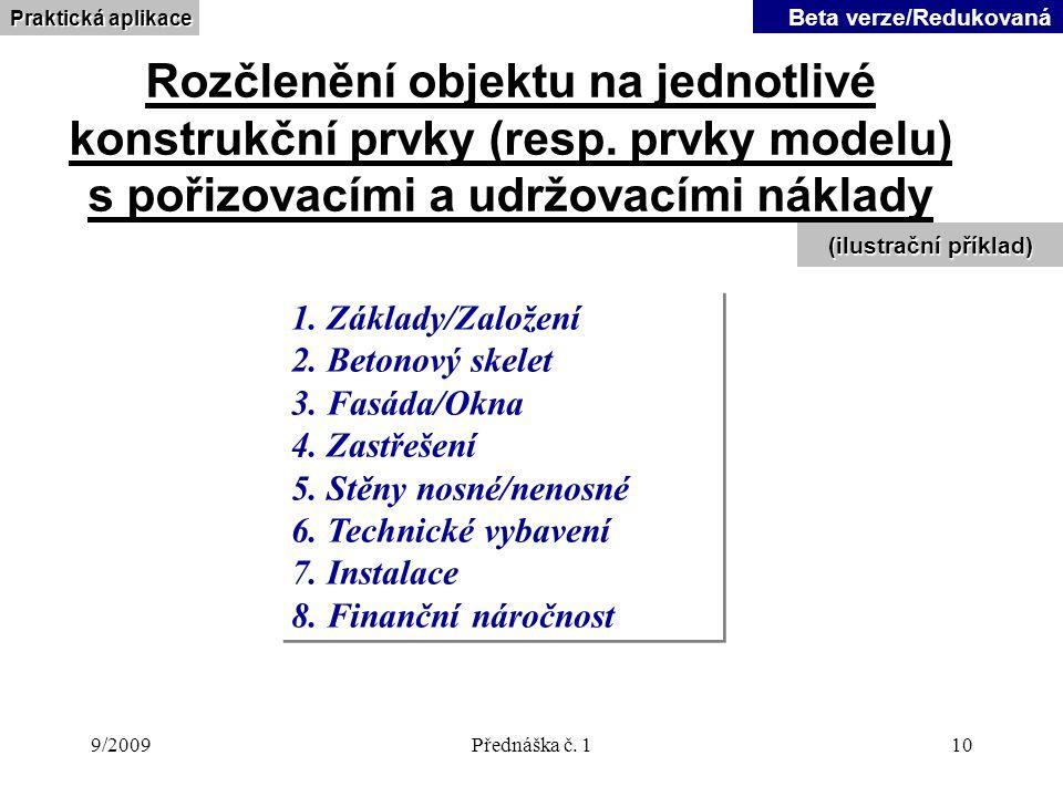 9/2009Přednáška č.110 Rozčlenění objektu na jednotlivé konstrukční prvky (resp.