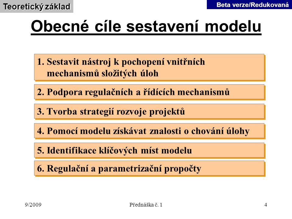9/2009Přednáška č.14 Obecné cíle sestavení modelu 1.