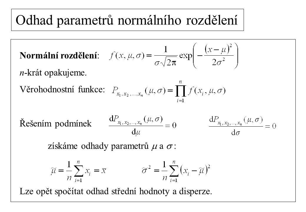 Odhad parametrů normálního rozdělení Normální rozdělení: n-krát opakujeme. Věrohodnostní funkce: Řešením podmínek získáme odhady parametrů  a  : Lz