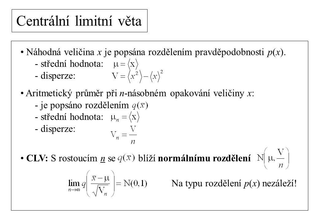 Centrální limitní věta Náhodná veličina x je popsána rozdělením pravděpodobnosti p(x). - střední hodnota: - disperze: Aritmetický průměr při n-násobné
