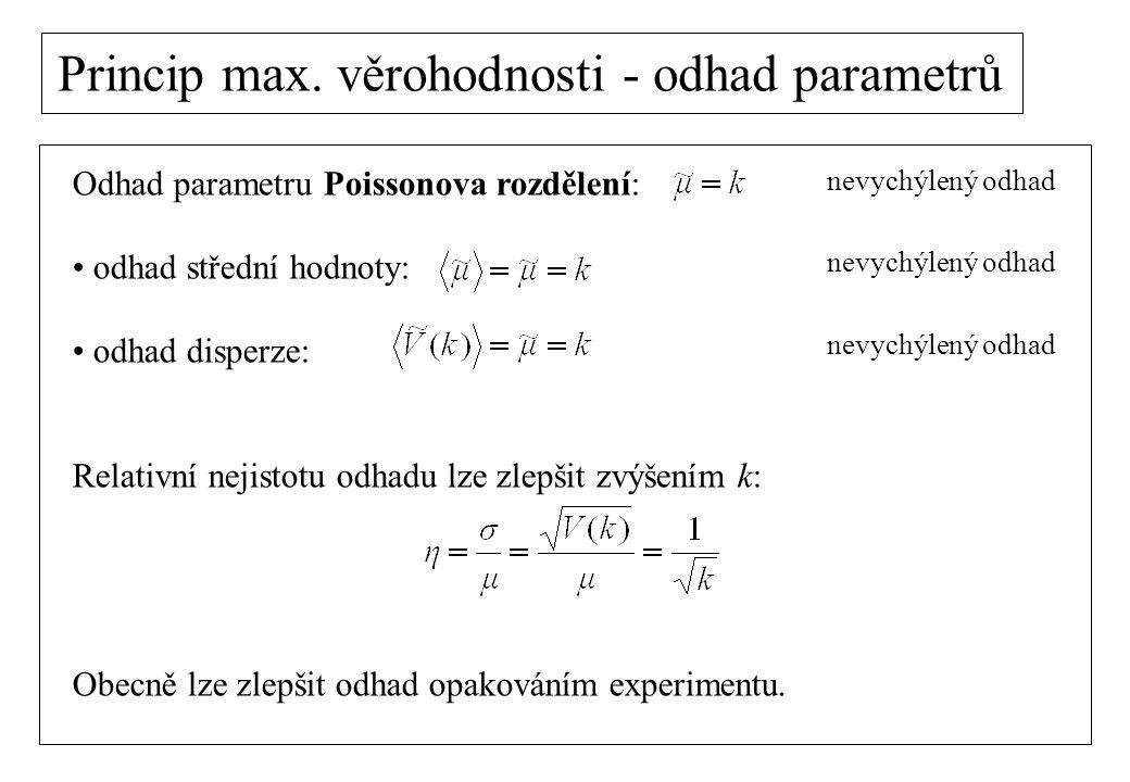 Odhad parametru Poissonova rozdělení: odhad střední hodnoty: odhad disperze: Relativní nejistotu odhadu lze zlepšit zvýšením k: Obecně lze zlepšit odh