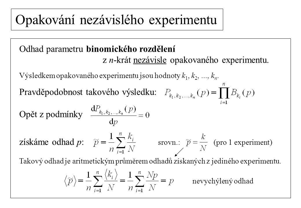 Opakování nezávislého experimentu Binomické rozdělení: odhad střední hodnoty: odhad disperze: podobně pro Poissonovo rozdělení: odhad střední hodnoty: odhad disperze: nevychýlený odhad vychýlený odhad nevychýlený odhad