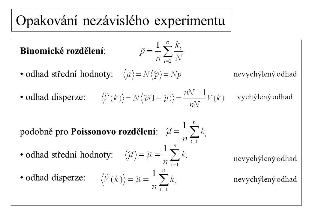 Opakování nezávislého experimentu Binomické rozdělení: odhad střední hodnoty: odhad disperze: podobně pro Poissonovo rozdělení: odhad střední hodnoty: