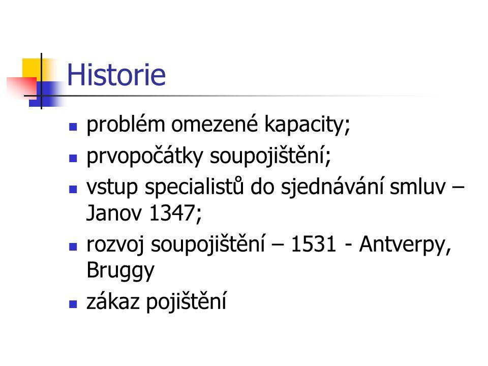 Historie problém omezené kapacity; prvopočátky soupojištění; vstup specialistů do sjednávání smluv – Janov 1347; rozvoj soupojištění – 1531 - Antverpy