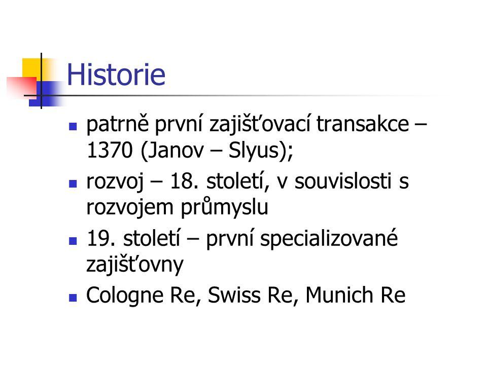 Historie patrně první zajišťovací transakce – 1370 (Janov – Slyus); rozvoj – 18. století, v souvislosti s rozvojem průmyslu 19. století – první specia