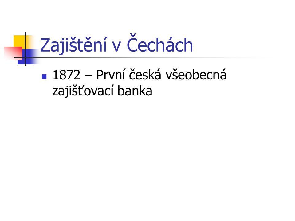 Zajištění v Čechách 1872 – První česká všeobecná zajišťovací banka