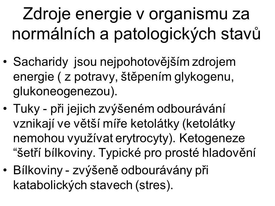 Zdroje energie v organismu za normálních a patologických stavů Sacharidy jsou nejpohotovějším zdrojem energie ( z potravy, štěpením glykogenu, glukone