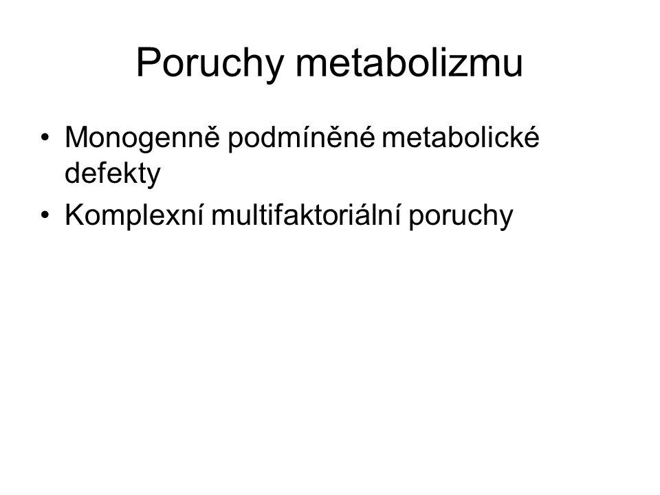 Poruchy metabolizmu Monogenně podmíněné metabolické defekty Komplexní multifaktoriální poruchy