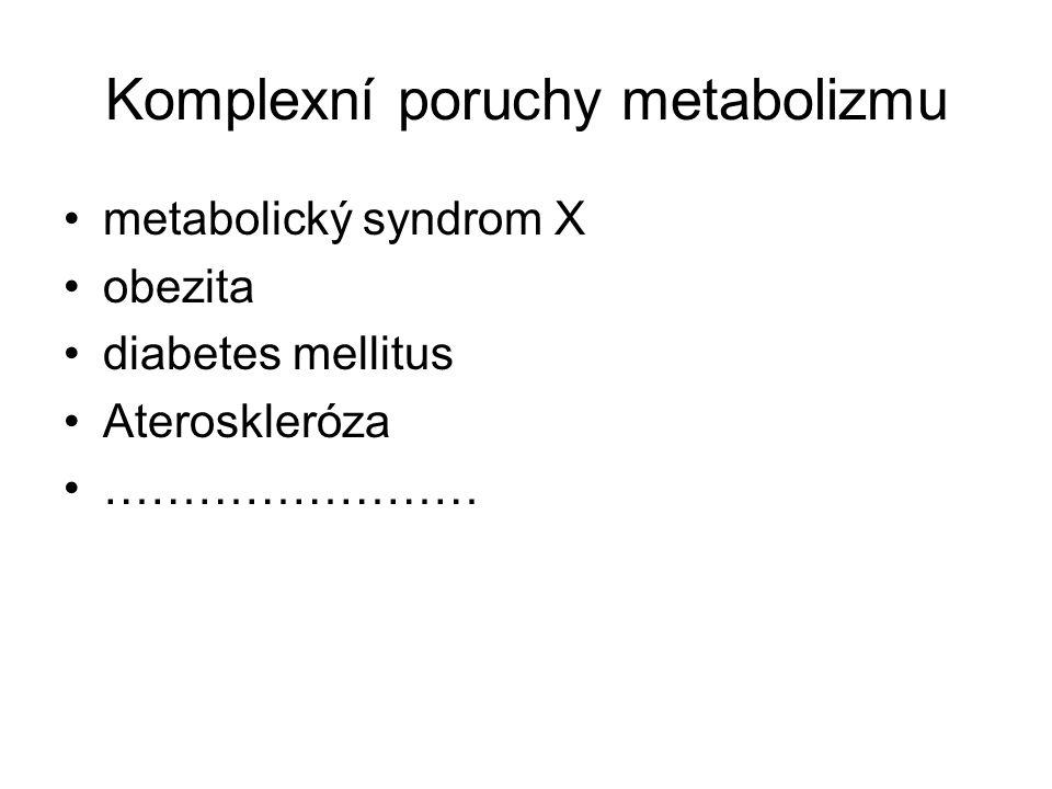 Komplexní poruchy metabolizmu metabolický syndrom X obezita diabetes mellitus Ateroskleróza ……………………