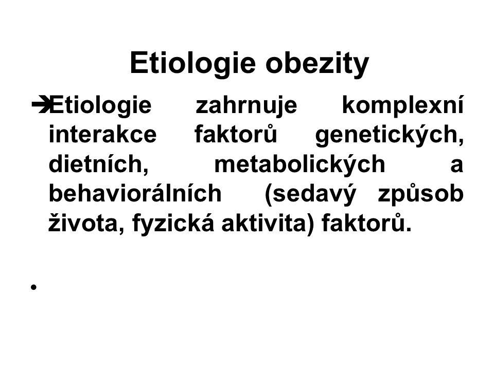 Etiologie obezity  Etiologie zahrnuje komplexní interakce faktorů genetických, dietních, metabolických a behaviorálních (sedavý způsob života, fyzick