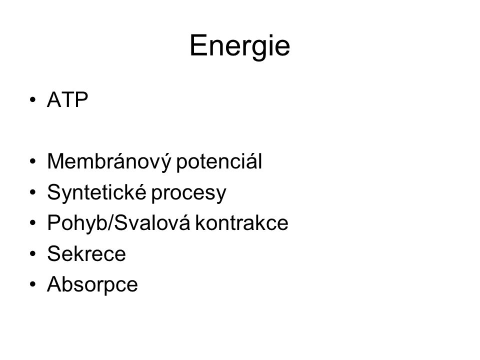 Energie ATP Membránový potenciál Syntetické procesy Pohyb/Svalová kontrakce Sekrece Absorpce