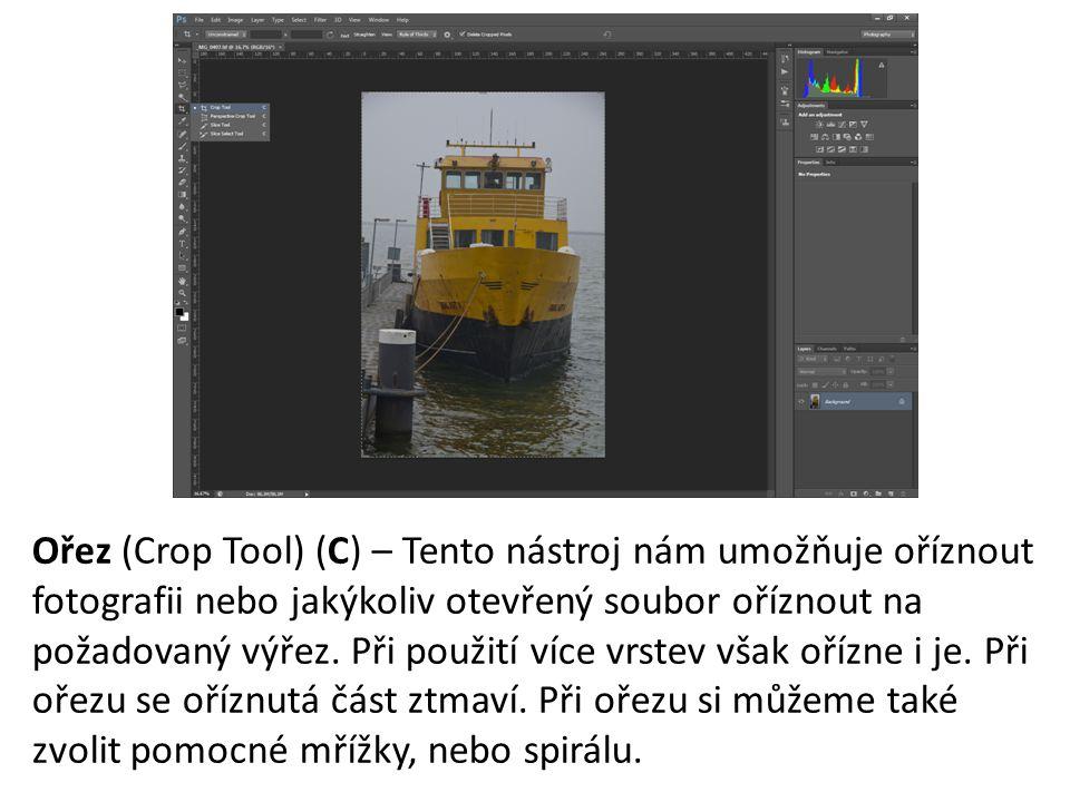 Ořez (Crop Tool) (C) – Tento nástroj nám umožňuje oříznout fotografii nebo jakýkoliv otevřený soubor oříznout na požadovaný výřez.