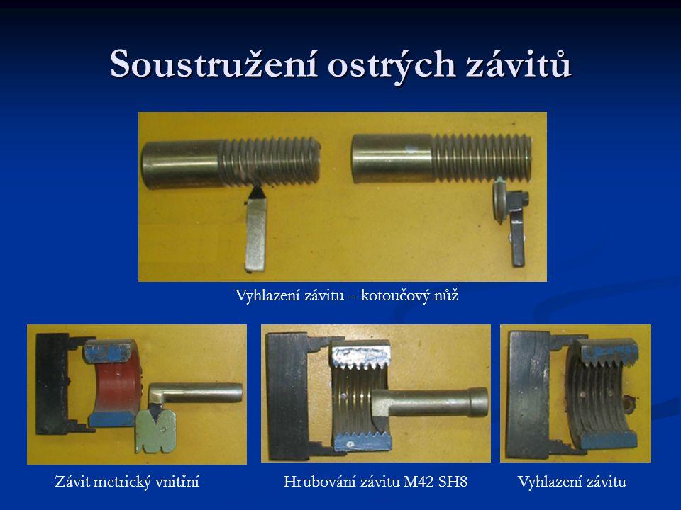 Soustružení ostrých závitů Vyhlazení závitu – kotoučový nůž Hrubování závitu M42 SH8Závit metrický vnitřníVyhlazení závitu