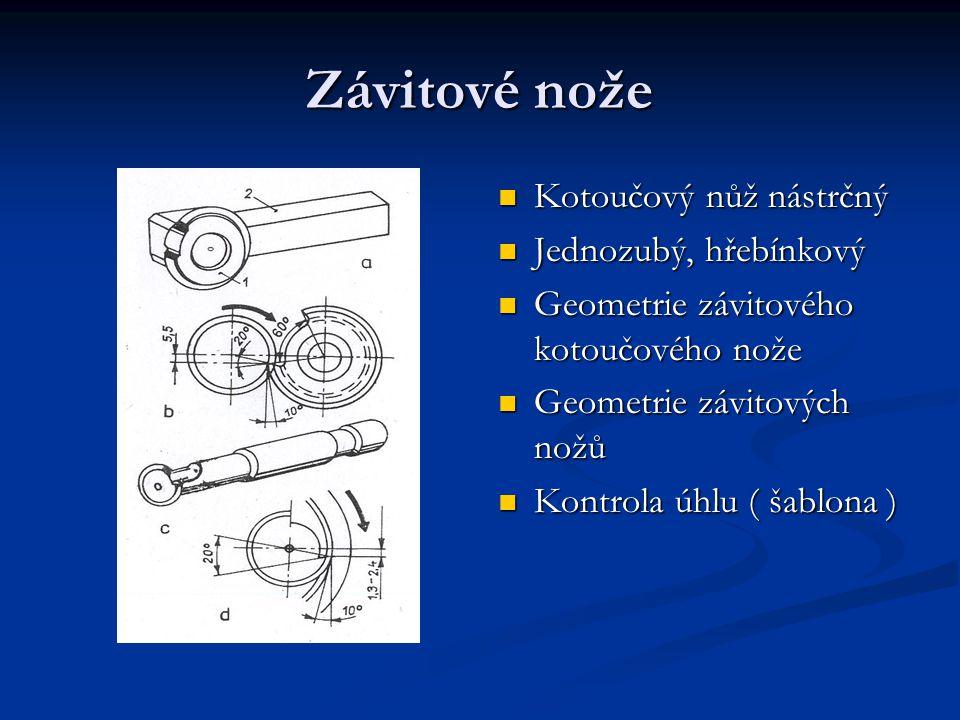Závitové nože Kotoučový nůž nástrčný Jednozubý, hřebínkový Geometrie závitového kotoučového nože Geometrie závitových nožů Kontrola úhlu ( šablona )