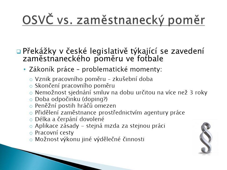  Překážky v české legislativě týkající se zavedení zaměstnaneckého poměru ve fotbale Zákoník práce – problematické momenty: o Vznik pracovního poměru