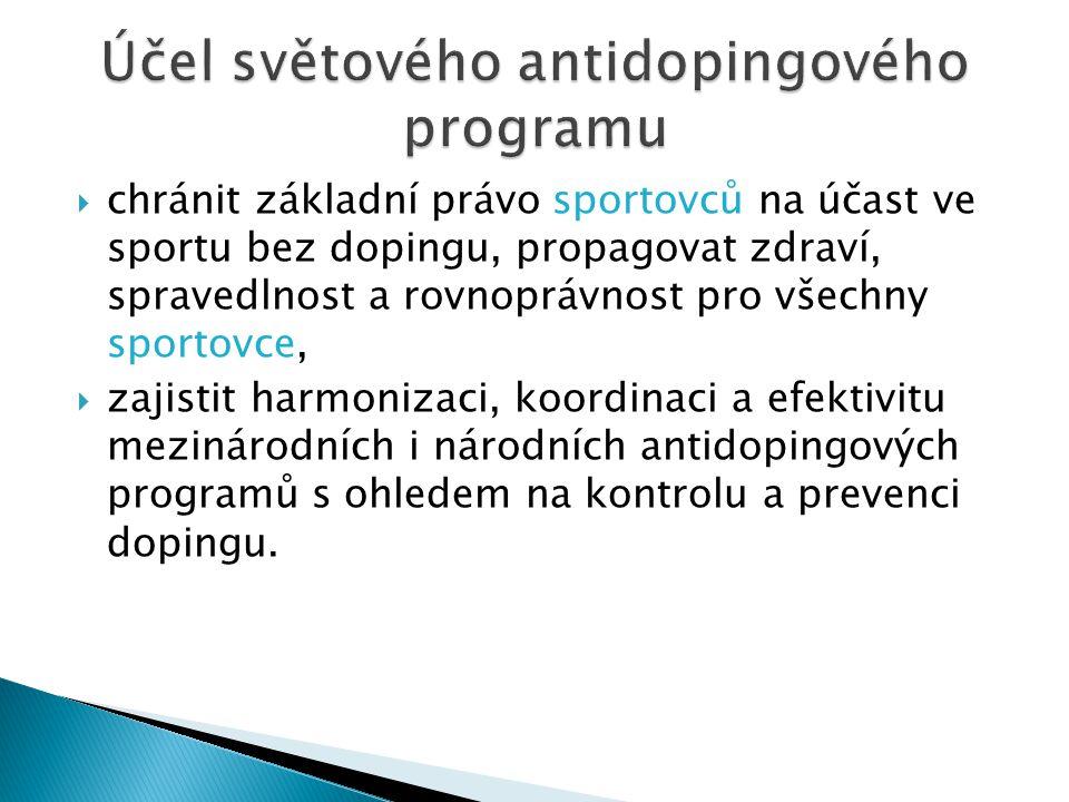  chránit základní právo sportovců na účast ve sportu bez dopingu, propagovat zdraví, spravedlnost a rovnoprávnost pro všechny sportovce,  zajistit h