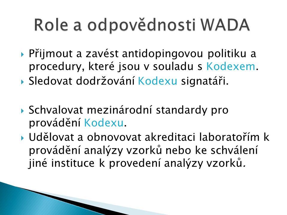  Přijmout a zavést antidopingovou politiku a procedury, které jsou v souladu s Kodexem.  Sledovat dodržování Kodexu signatáři.  Schvalovat mezináro