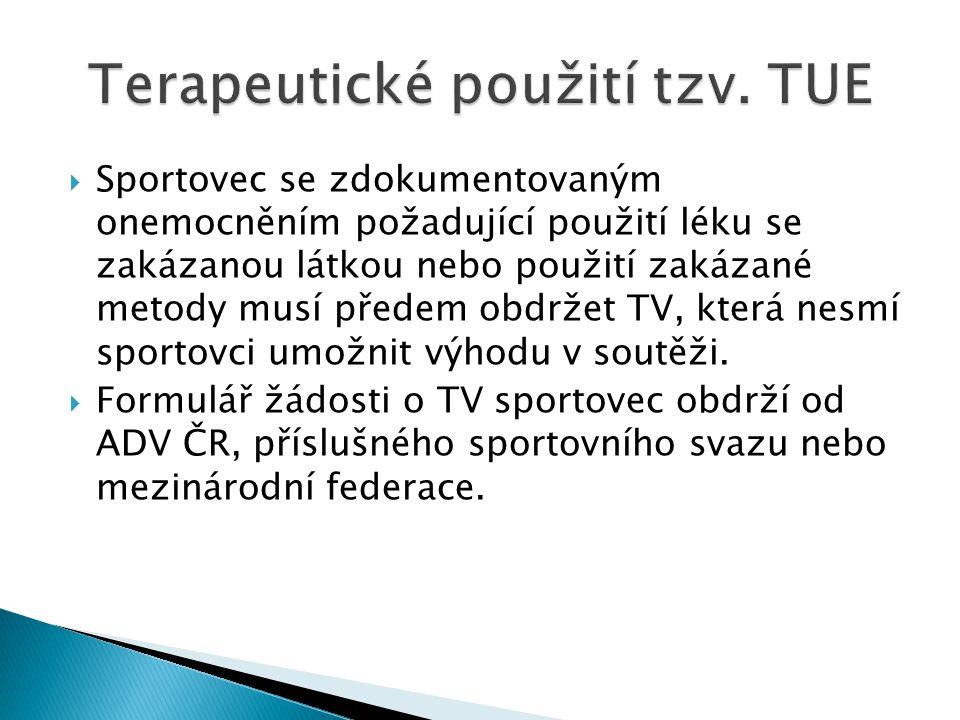  Sportovec se zdokumentovaným onemocněním požadující použití léku se zakázanou látkou nebo použití zakázané metody musí předem obdržet TV, která nesm