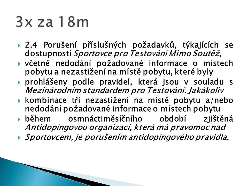  2.4 Porušení příslušných požadavků, týkajících se dostupnosti Sportovce pro Testování Mimo Soutěž,  včetně nedodání požadované informace o místech