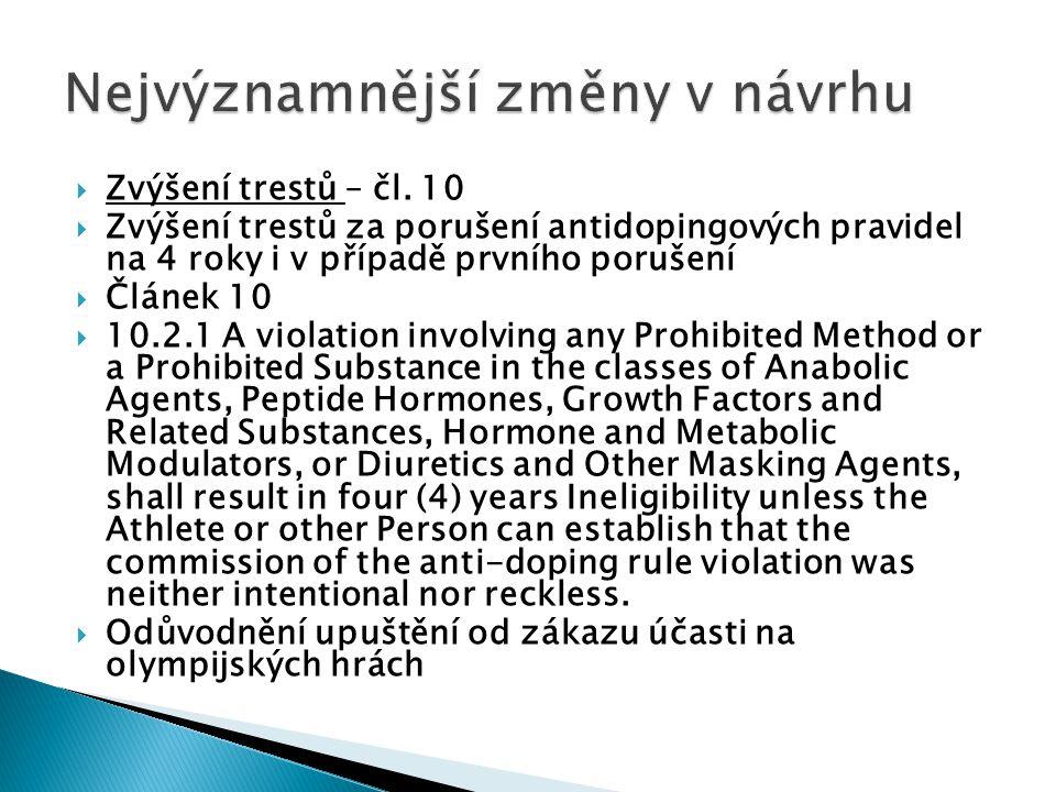  Zvýšení trestů – čl. 10  Zvýšení trestů za porušení antidopingových pravidel na 4 roky i v případě prvního porušení  Článek 10  10.2.1 A violatio