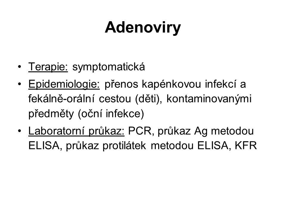Adenoviry Terapie: symptomatická Epidemiologie: přenos kapénkovou infekcí a fekálně-orální cestou (děti), kontaminovanými předměty (oční infekce) Labo