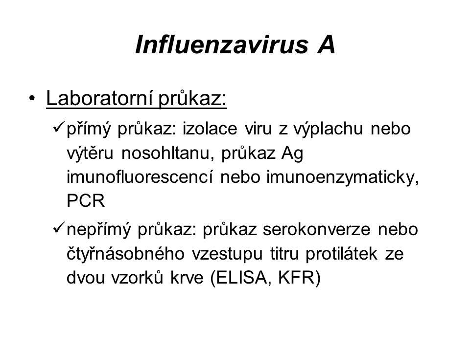 Influenzavirus A Laboratorní průkaz: přímý průkaz: izolace viru z výplachu nebo výtěru nosohltanu, průkaz Ag imunofluorescencí nebo imunoenzymaticky,