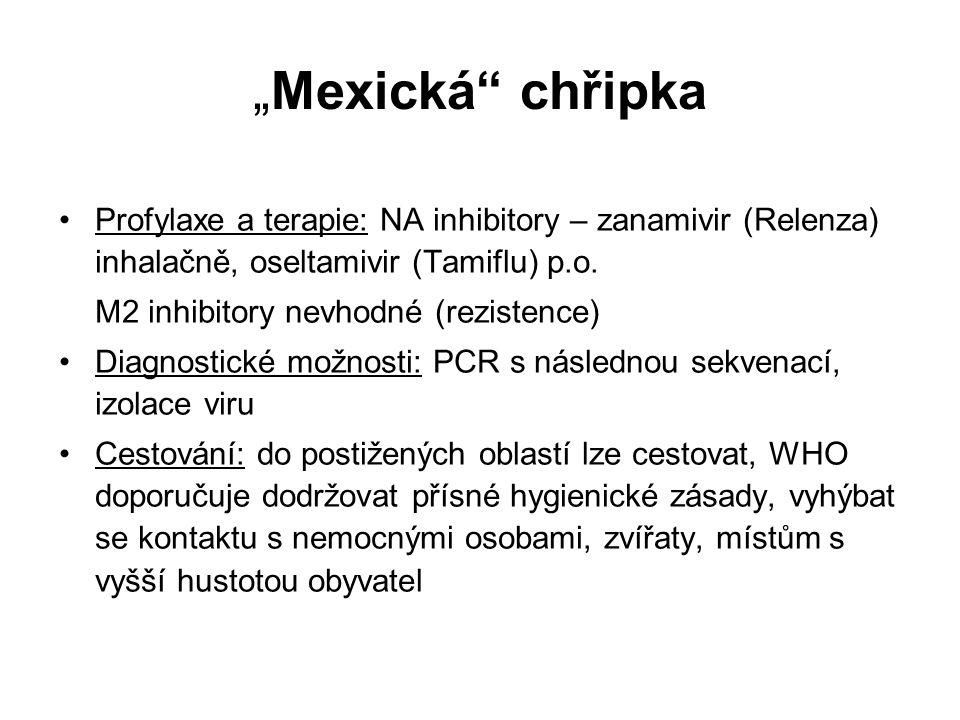 """""""Mexická"""" chřipka Profylaxe a terapie: NA inhibitory – zanamivir (Relenza) inhalačně, oseltamivir (Tamiflu) p.o. M2 inhibitory nevhodné (rezistence) D"""