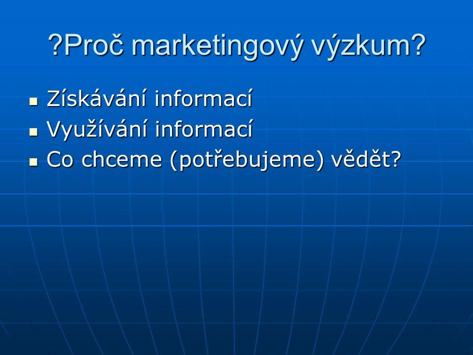 ?Proč marketingový výzkum.